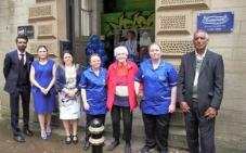 Ash Farid, Care Manager, Vicky Burrows, Cllr Dot Foster & care team 2